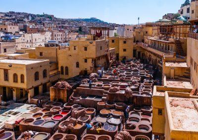 Maroko - koželužny ve Fesu
