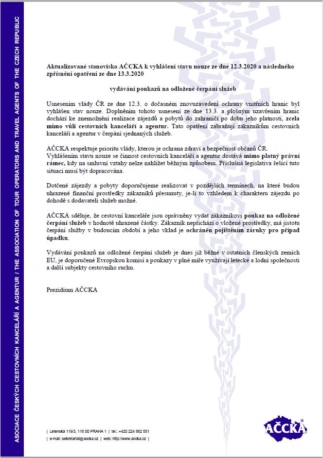 Stanovisko AČCKA kvyhlášení stavu nouze ze dne 12.3.anásledného zpřísnění opatření ze dne 13.3.2020